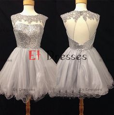 Round neckline tulle with sequins top and appliques cocktail dress prom dress