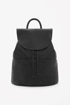 COS image 4 of Unstructured leather backpack in Black
