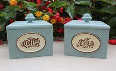 Cottage chic vintage coffee and tea bins, kitchen storage, hand-painted in Annie Sloan Duck Egg Blue