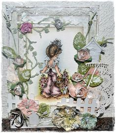 Sarah Kay - card, using papers from Maja Design´s Sofiero collection and chippies from Wycinanka.