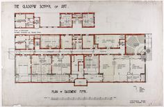 Design for Glasgow School of Art: Plan of Basement Floor by Charles Rennie Mackintosh. Charles Rennie Mackintosh, Architecture Artists, Architecture Plan, Glasgow School Of Art, Art School, Mackintosh Design, Glasgow Scotland, Basement Flooring, Travel Posters