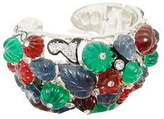 KJL (Kenneth Jay Lane) - Créateur de Bijoux - Vintage - Bracelet 'Fleurs et Feuilles'