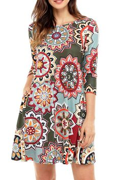 ae079586c26 Too Sweet Boho Floral Print Boho Dress