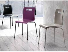What sedia in legno multistrato - Sedia con struttura in metallo verniciato alluminio o cromato con seduta e schienale in multistrato impiallacciato o laccato. Disponibile nei colori viola, bianco, nero, wengè, grigio tortora o antracite.  Confezione scatola N° 4 pz.  Prezzo inteso per singolo pezzo.  Dimensioni: L 50 x P 56 H 85 cm  Prodotto da azienda Italiana  realizzato all'estero. Metal Chairs, Wooden Chairs, Dining Chairs, Liberty, Furniture, Design, Home Decor, Style, Houses