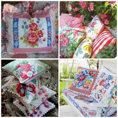 Vintage Tablecloth Pillows  Somebody has to make some of these..
