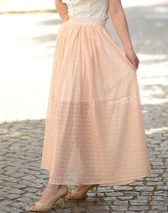 Ladies Lace Long Skirt With Two Zipper. Long skirt of lace - a beautiful solution to work, walk or meeting with friends! The skirt is short lining / poplin / which creates ethereal. Fastened with 2 pc. plastic zipper, which are a nice decorative element but also a functioning buckle. Beautiful skirt adding a romantic touch to your look!