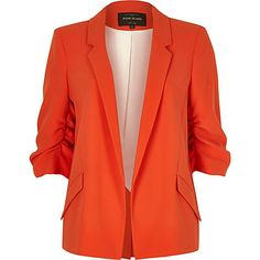 Red ruched sleeve blazer $60.00