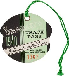 1940 Indianapolis 500 Temporary Track Pass