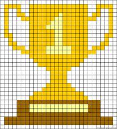 Winner trophy cup perler bead pattern Perler Bead Templates, Perler Patterns, Perler Beads, Easy Pixel Art, Theme Sport, Fusion Beads, Graph Design, Alpha Patterns, Knitting Charts