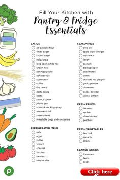 Printable Kitchen Pantry Essentials Shopping List - Moving in to a new home? Time to stock the pantry and refrigerator with all the essentials. First Apartment Checklist, First Apartment Essentials, New Home Checklist, Cleaning Checklist, Moving Out Checklist, First Apartment Cleaning Supplies, Moving Checklist Printable, Cleaning Hacks, New Home Essentials