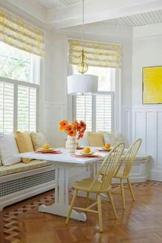 Yellow and white kitchen banquette