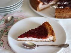 Mis deseos más dulces   Vanesa Sierra: Tarta de Petit Suisse de fresa (al horno)