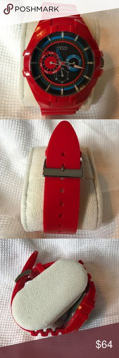 Red Guess watch Great condition. Battery not included. Protective sticker still attached to the back of the watch. Guess Accessories Watches