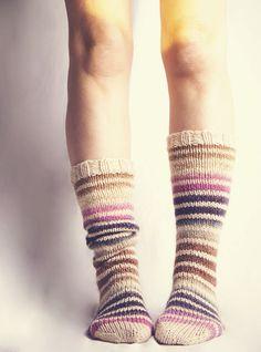 Cute rainbow chunky boot socks shared on the LoveKnitting Community. Wool Socks, Knitting Socks, Yarn Projects, Knitting Projects, Walking Socks, Striped Boots, Knit Leg Warmers, Chunky Boots, Knit Or Crochet
