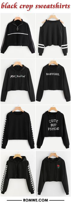 black crop sweatshirts from romwe.com