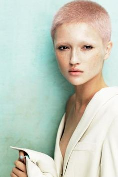 Hair: Angelo Seminara for Davines from the Powder collection Black Girls With Freckles, Freckles Girl, Buzz Cut Hairstyles, Easy Hairstyles, Pink Hairstyles, Angelo Seminara, Short Hair Cuts, Short Hair Styles, Pixie Cuts