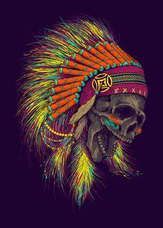Death Song by Lou Patrick Mackay Indian Headdress Tattoo, Indian Skull Tattoos, Indian Head Tattoo, Native American Tattoos, Native American Art, Skull Artwork, Cool Artwork, Skull Drawings, Arte Cholo