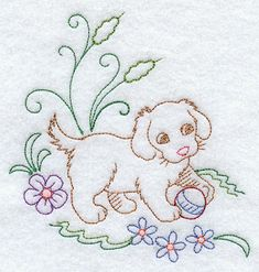 Image by EMBROIDERY LIBRARY INC - Sweet Dreams Puppy Corner - Facing Right
