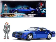 Henry Bower\'s Pontiac Firebird Trans Am Candy Blue with Pennywise Diecast Figurine \It Chapter Two