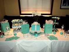 Diva & Co a Breakfast at Tiffany's Champagne Bridal Brunch :  wedding maid of honor shower breakfast at tiffanys shower ideas blue tiffany blue champagne brunch teal navy white bridesmaids cake inspiration diy The Cake Table