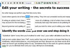Pro Writing Aid. A great website for serious writers, or even for students who want a good essay checker. It's free, but there is a premium. I find the free version to be very helpful. It finds overused words and phrases, clichés and redundancies, vague words, plagiarism, and much more! I really recommend trying it!