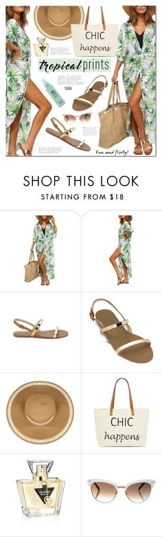 """""""Hot Tropics"""" by mada-malureanu ❤ liked on Polyvore featuring Straw Studios, GUESS, Gucci, tropicalprints and hottropics"""