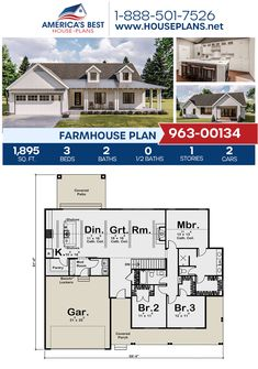A glorious 1-story Farmhouse, Plan 963-00134 features 1,895 sq. ft., 3 bedrooms, 2 bathrooms, cathedral ceilings, a 2 car garage, and a mudroom. #farmhouse #openfloorplan #onestoryhome #architecture #houseplans #housedesign #homedesign #homedesigns #architecturalplans #newconstruction #floorplans #dreamhome #dreamhouseplans #abhouseplans #besthouseplans #newhome #newhouse #homesweethome #buildingahome #buildahome #residentialplans #residentialhome Barn House Plans, Country House Plans, Dream House Plans, House Floor Plans, Home Interior, Interior Modern, One Story Homes, Tech House, Apartment Plans
