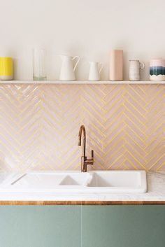 The Kids Helped Design This Super Cheerful London House Extension kitchen backsplash with pink tile with yellow grout; floating shelf above Deco Design, Küchen Design, Design Trends, Bath Design, Design Ideas, Coloured Grout, Pink Tiles, Green Bathroom Tiles, Decorating Kitchen