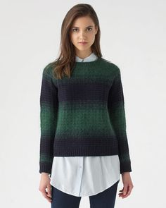 Cosy and distinctive ombre jumper carefully crafted in a lambswool-blend knit with a hint of mohair. Thick-rib cuffs with matching hem and neckline.  Designed with style and crafted to last, make this winter warmer part of your signature style this season.