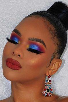 23 stunning makeup ideas for black women - Bold Makeup Looks, Bold Eye Makeup, Colorful Eye Makeup, Dramatic Makeup, Simple Makeup, Palette Anastasia Beverly Hills, Eyeliner, Eyeshadow, Sparkle Makeup