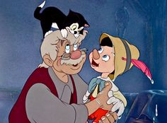 Geppetto discovers that his wish has come true and is filled with joy.              Christian Rub as Mister Geppetto,  Dickie Jones as Pinocchio, a wooden puppet carved by Geppetto and turned into a living puppet by the Blue Fairy. Jones also provided the voice of Alexander, a donkey