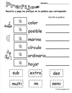 Prefijos cut and paste Bilingual Classroom, Bilingual Education, Spanish Classroom, 3rd Grade Writing, 3rd Grade Reading, Spanish Language Learning, Teaching Spanish, Study Spanish, Prefixes And Suffixes
