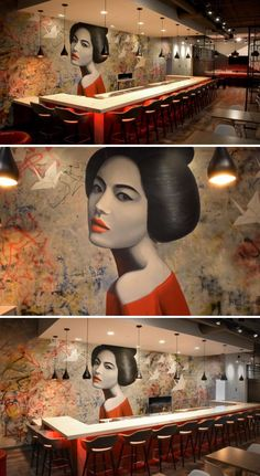 Japanese Restaurant Design, Restaurant Interior Design, Handmade Wallpaper, Modern Wallpaper, Art Restaurant, Graphic Wall, Cafe Wall, Ceramic Wall Art, Pub