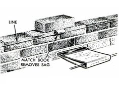 """""""A matchbook held by a brick takes the sag out of a mason's line."""" The matchbook suspends the line, keeping it the right distance from the top course so it doesn't interfere with striking the mortared joint. Woodworking Furniture, Woodworking Tips, Kids Furniture, Cardboard Furniture, Furniture Design, Tool Tattoo, Popular Mechanics, In Case Of Emergency, Metal Fabrication"""