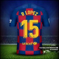 Camiseta FC Barcelona 2019/20 número 15 b lopez Camisa Barcelona, Barcelona Shirt, Barcelona Jerseys, Team Shirts, Football Shirts, Football Team, Hope Solo, Number 10, Names