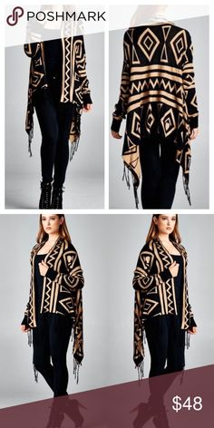 AZTEC HIGH LOW SHRUG Black and taupe variation of a shrug but WAY cuter. Long sides with switch fringe, very chic. One size fits 6-12. Acrylic knit. tla2 Jackets & Coats Capes