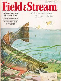 May 1955 Field & Stream magazine. Cover illustration by Tom Rost. #fishing #vintage #magazine