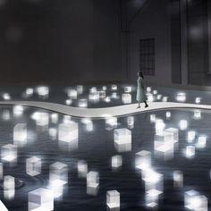 The Passing on Project is a collaboration between architect Makoto Tanijiri, lighting designer Izumi Okayasu and media producer Yahoko Sasao. The trio created an interactive installation titled Turn Light Into Delight. Visitors select an acrylic block bef Light Art, Gropius Bau, Interactive Installation, Projection Installation, Interactive Projection, Artistic Installation, Instalation Art, Stage Lighting, Water Lighting