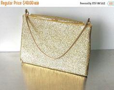 SALE Vintage Clothmaid Gold Handbag Purse. British made. Golden Sparkly Vinyl leather handbag. Gold London evening bag.Signed designer gold