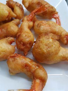 CABALLITOS O GAMBAS REBOZADAS CBF@ Pretzel Bites, Potatoes, Bread, Vegetables, Blog, Seafood, Cooking, Potato, Brot