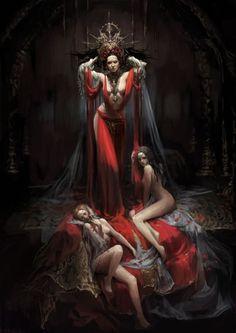 f Cleric w minions Image from fantasy and syfy.NSFW — tomjogi: by JIYEON RYU Fantasy Women, Dark Fantasy Art, Fantasy Girl, Fantasy Artwork, Dark Art, Art Et Design, Graphic Design, Art Manga, Vampire Art
