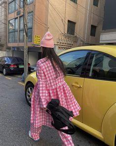 Nanjeong Lee in Studio onyva Bubblegum gingham pants and dress Gingham Pants, Studio, Sewing, Hats, Dresses, Fashion, Daughters, Vestidos, Moda