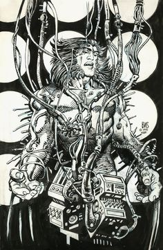This bold, full page drawing epitomizes Barry Windsor-Smith's realization of his classic Weapon X, the origin of Wolverine. It was created to be the initial cover for Marvel Comics Presents #84, containing the last chapter of his 1991 serialized story. BWS later decided on the now-iconic wraparound for the final issue instead.