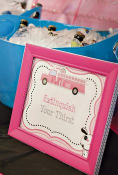 Pink firetruck party for girls: drinks | girly