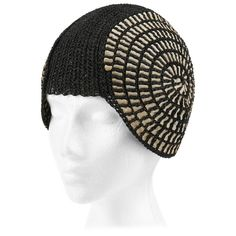 COUTURE c.1920's Black Straw Spiral Woven Ribbon Juliet Cap Flapper Cloche Hat | From a collection of rare vintage cloche hats at https://www.1stdibs.com/fashion/accessories/cloche-hats/