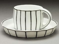 Black and White Mocha Cup and Saucer by Josef Hoffmann, c. Austria, Vienna, Designed c. made Ellen Palevsky Cup Collection, LACMA Ceramic Cups, Ceramic Pottery, Pottery Art, Ceramic Art, Art Nouveau, Art Deco, Design Observer, Klimt, White Mocha