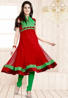 An appealing Red & Green Color Designer Anarkali Suit featuring a green brocade embroidered bodice