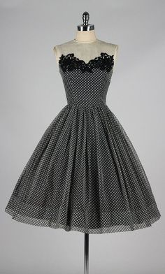 Black and white polka dot pattern vintage 1950's dress #1950