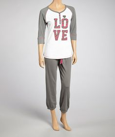 Another great find on #zulily! White French Terry 'Love' Pajama Set - Women by Panties Plus #zulilyfinds