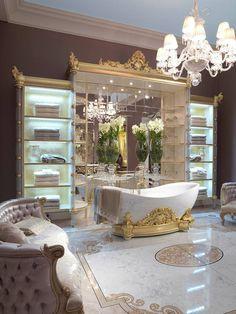 Gorgeous And Glamorous Bathroom Decoration Ideas - Homestya Royal Bathroom, Glamorous Bathroom, Beautiful Bathrooms, Small Bathroom, Luxury Home Decor, Luxury Homes, Dream Home Design, House Design, Casa Top